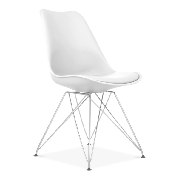 Scandi Designs White Dining Chair with Eiffel Metal Legs