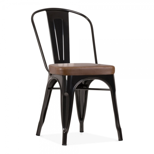 Xavier Pauchard Tolix Style Metal Side Chair, Faux Leather Cushion, Black