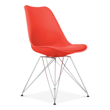 Red Dining Chair with Eiffel Metal Legs