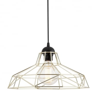 Harlow Cage Metal Pendant Light - Chrome