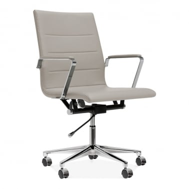 Ellington Office Chair in PU Leather - Light Grey